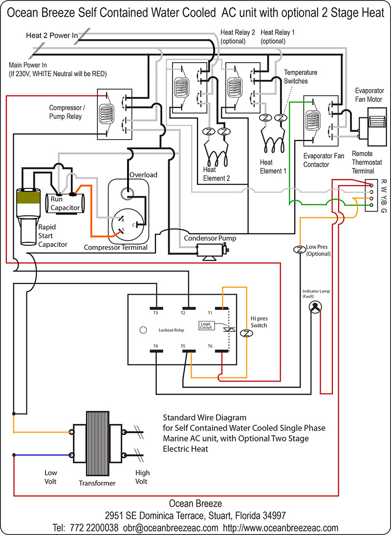 Wiring Diagram/Schematics for the 18,500 to 36,000 BTU AC unit, with 2 Stage Heat