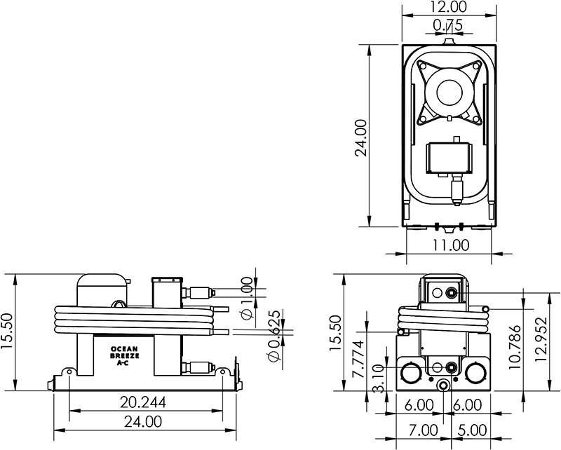 Dimensions for a 3 Ton Chiller (CW36)