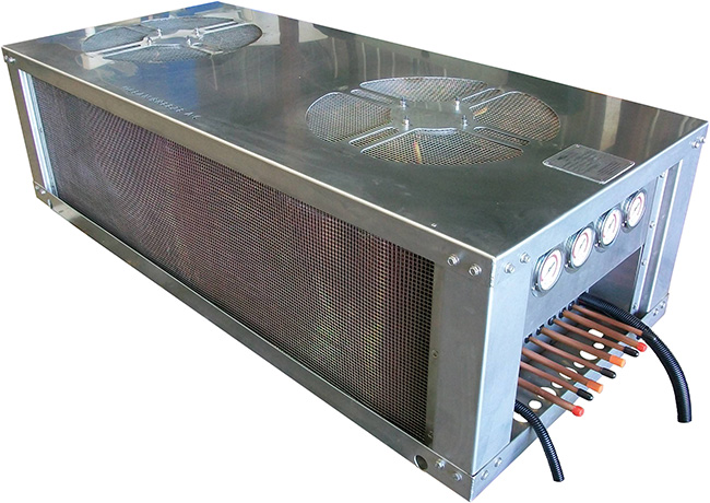 60,000 BTU four-compressor air-cooled condenser designed for Motor Coaches, Buses, and RVs.